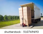 truck transporting goods packed ... | Shutterstock . vector #510769693