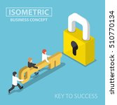 isometric business team holding ...