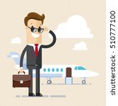 businessman stand near airplane.... | Shutterstock .eps vector #510777100
