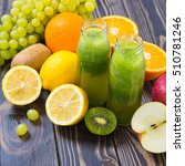 green smoothie in bottle with... | Shutterstock . vector #510781246