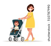 motherhood. happy young mother... | Shutterstock .eps vector #510787990