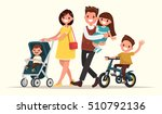 big family on the walk. mother... | Shutterstock .eps vector #510792136