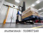 worker stand on stacker truck... | Shutterstock . vector #510807160