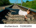 Young Girl Laying On A Railway...