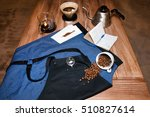 barista apron on the table in... | Shutterstock . vector #510827614