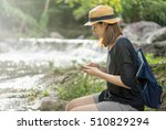 asian female solo traveler... | Shutterstock . vector #510829294