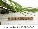 wellness sign with wooden cubes ... | Shutterstock . vector #510834646