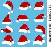 set of red santa claus hats... | Shutterstock .eps vector #510837214