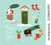 vector set with new year... | Shutterstock .eps vector #510844393