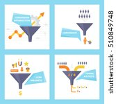 sales funnel set of flat design ... | Shutterstock .eps vector #510849748