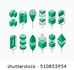 graphical tree set  isometric... | Shutterstock .eps vector #510853954