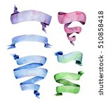 set of watercolor ribbons. hand ... | Shutterstock . vector #510858418