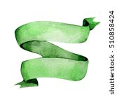 green watercolor ribbon. hand... | Shutterstock . vector #510858424