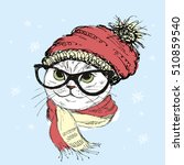 fashion portrait of hipster cat ... | Shutterstock .eps vector #510859540