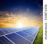 solar panels on green field... | Shutterstock . vector #510871456