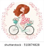 romantic cute girl bicycle... | Shutterstock .eps vector #510874828