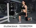 girl doing lunges with... | Shutterstock . vector #510882904