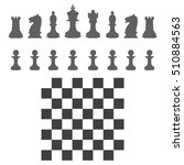 set chess pieces and chessboard ... | Shutterstock .eps vector #510884563