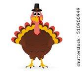 turkey in hat on thanksgiving... | Shutterstock . vector #510900949