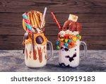 two homemade extreme milkshakes ...   Shutterstock . vector #510919183