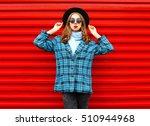 fashion pretty woman wearing a... | Shutterstock . vector #510944968