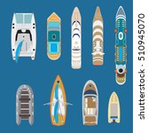flat top view yachts and boats... | Shutterstock .eps vector #510945070