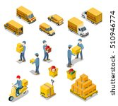 flat isometric couriers holding ... | Shutterstock .eps vector #510946774
