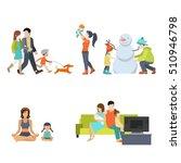 flat family having fun  making... | Shutterstock .eps vector #510946798