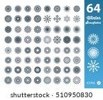 set of 64 snowflakes on white... | Shutterstock .eps vector #510950830