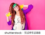 pretty girl with dreadlocks and ... | Shutterstock . vector #510951088