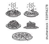 italian cuisine  vector outline ... | Shutterstock .eps vector #510956278