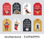 christmas tags set  hand drawn... | Shutterstock .eps vector #510960994