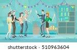 businesspeople celebrate merry... | Shutterstock .eps vector #510963604