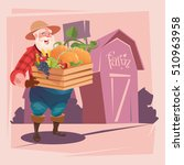 farmer hold box with vegetables ... | Shutterstock .eps vector #510963958
