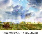 Landscape With Field  Sky And...