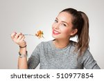beautiful young brunette woman... | Shutterstock . vector #510977854