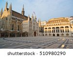 Small photo of Guildhall complex with Guildhall and Guildhall Art Gallery in the City of London in the UK.