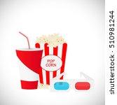movie illustration with popcorn ... | Shutterstock .eps vector #510981244
