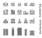 thin line buildings icon set.... | Shutterstock .eps vector #510985768
