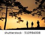 silhouette of traveler watching ... | Shutterstock . vector #510986008