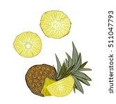 pineapple  pattern. vector... | Shutterstock .eps vector #511047793