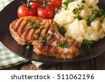grilled pork steak with mashed... | Shutterstock . vector #511062196