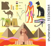 Set Of Egypt Symbols And...