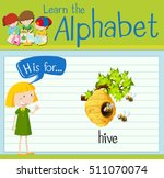 flashcard letter h is for hive... | Shutterstock .eps vector #511070074