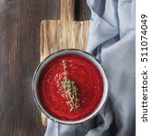 traditional beetroot soup in a... | Shutterstock . vector #511074049