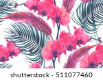 tropical flowers  palm leaves ... | Shutterstock .eps vector #511077460