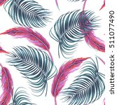 tropical palm leaves  pink... | Shutterstock .eps vector #511077490