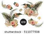 bouquet with tropical flowers ... | Shutterstock .eps vector #511077508