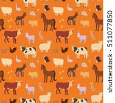 seamless pattern with cartoon... | Shutterstock .eps vector #511077850