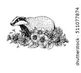 hand drawn badger with flowers. ... | Shutterstock .eps vector #511077874